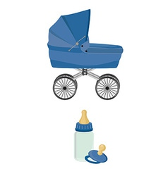 Blue baby carriage bottle and pacifier vector image