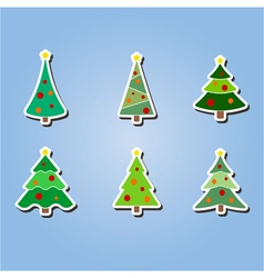 color icons with Christmas trees vector image vector image