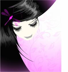 girl with a dragonfly vector image vector image