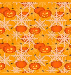 halloween pumpkin head seamless pattern vector image vector image