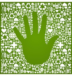 Hand with green icons background vector image vector image