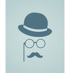 Hat glasses and mustache vector image vector image