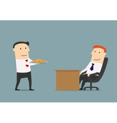Manager giving profit on a silver platter to boss vector image vector image