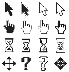 Pixel cursors icons arrow hourglass hand mouse vector image vector image
