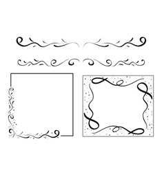 Black wavy design elements - set vector
