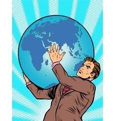 Businessman titan atlas holds the earth vector