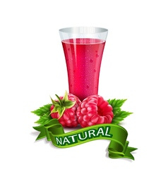 glass of juice with raspberry and ribbon vector image