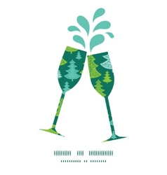 holiday christmas trees toasting wine glasses vector image