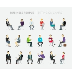 People set work sitting on chairs vector image vector image