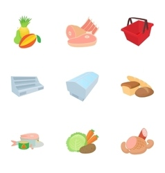 Products in store icons set cartoon style vector image vector image