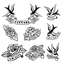 set of tattoo templates with swallows and roses vector image vector image