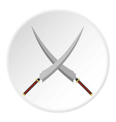 two crossed japanese samurai swords icon circle vector image