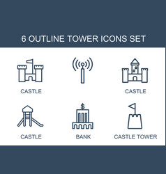 6 tower icons vector