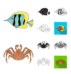 A variety of marine animals cartoonblackflat vector