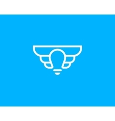 Abstract elegant bulb wings line logo icon design vector