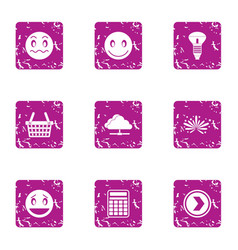 Advertising intervention icons set grunge style vector