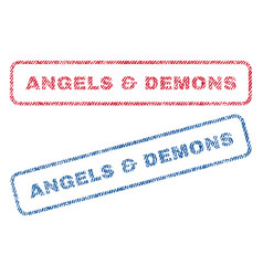 Angels demons textile stamps vector