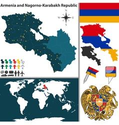 Armenia with nagorno karabakh republic map vector