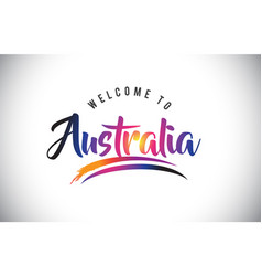 australia welcome to message in purple vibrant vector image