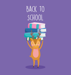 back to school education cute deer with books vector image