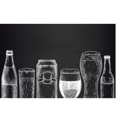 beer background sketch beer glasses mugs and can vector image