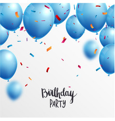 birthday celebrations banner with blue balloons vector image