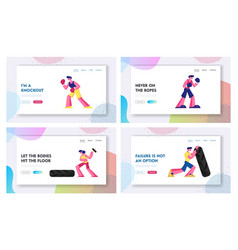 boxing and crossfit website landing page set vector image