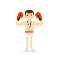 Boxing man winning bronze medal vector