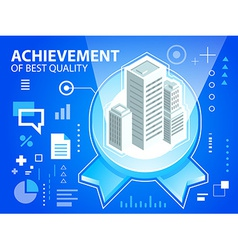 bright emblem and buildings on blue backgrou vector image