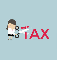 businesswoman with scissors cutting tax vector image