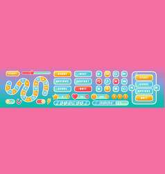 buttons for mobile user game ui interface in pink vector image