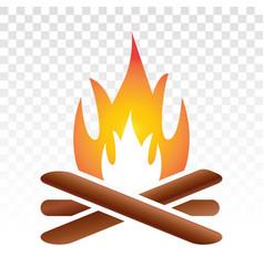 Campfire bonfire flat icon on a transparent vector