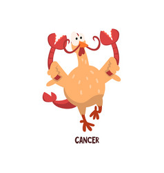 Cancer zodiac sign funny chick character vector