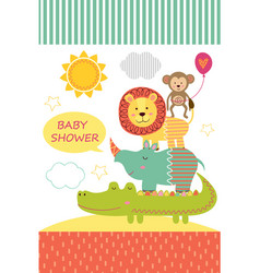 Card with baby jungle animals vector