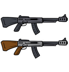 cartoon automatic rifles weapon icons vector image