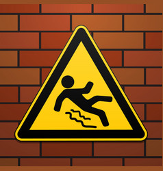 Caution - danger beware of slippery safety sign vector