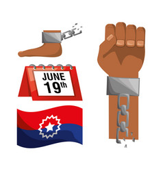 Chain in the hand and foot with calendar and flag vector