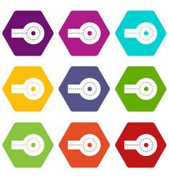 Circular impasse icon set color hexahedron vector