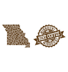 Collage map of missouri state with coffee beans vector