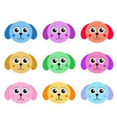 collection of cute colorful puppy dog isolated on vector image