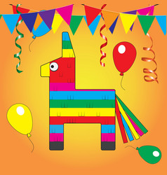 colorful pinata mexcian traditional birthday toy vector image