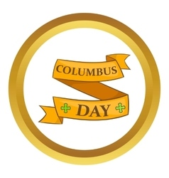 Columbus Day ribbon icon vector
