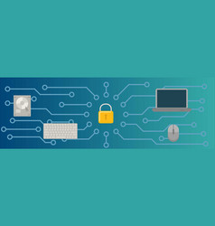 computer security banner horizontal flat style vector image