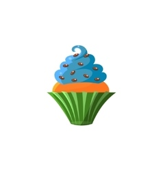Cute cupcake with blue top vector