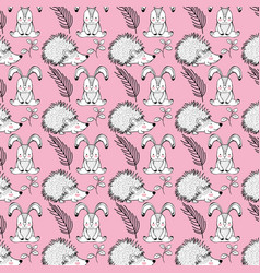 Cute rabbit and porcupine animals background vector