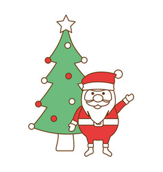 cute santa claus with tree vector image