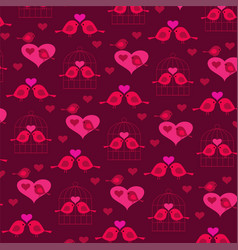 cute valentine birds with hearts and birdcage vector image