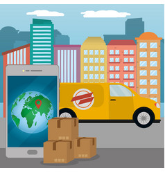 delivery service cartoon vector image