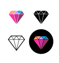 diamond fashion logo colorful brilliant stone vector image