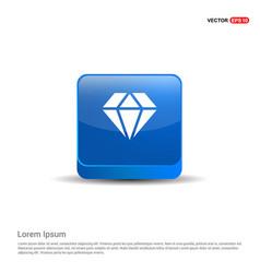 diamond icon - 3d blue button vector image